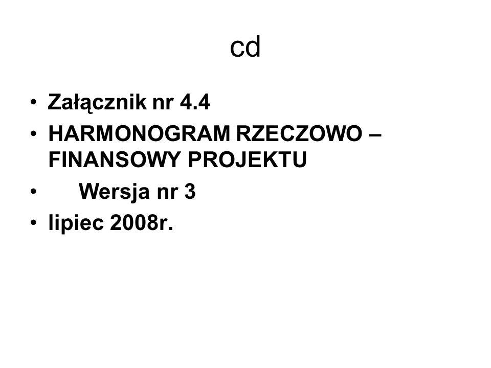 cd Załącznik nr 4.4 HARMONOGRAM RZECZOWO – FINANSOWY PROJEKTU Wersja nr 3 lipiec 2008r.