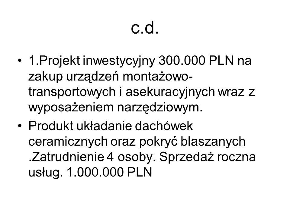 c.d. 1.Projekt inwestycyjny 300.000 PLN na zakup urządzeń montażowo- transportowych i asekuracyjnych wraz z wyposażeniem narzędziowym. Produkt układan