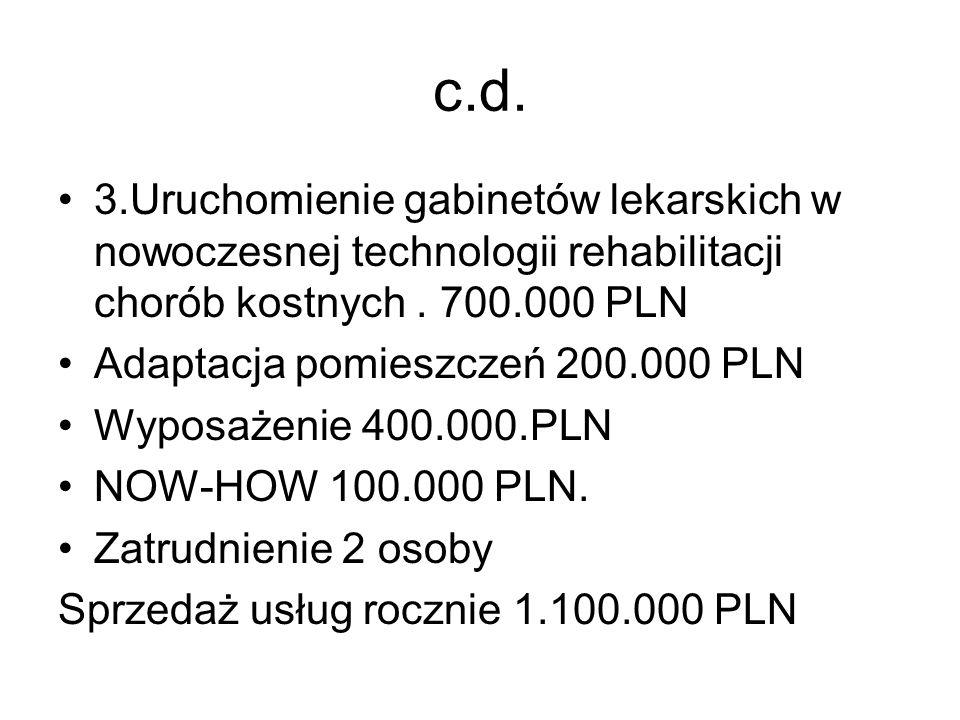 c.d. 3.Uruchomienie gabinetów lekarskich w nowoczesnej technologii rehabilitacji chorób kostnych. 700.000 PLN Adaptacja pomieszczeń 200.000 PLN Wyposa