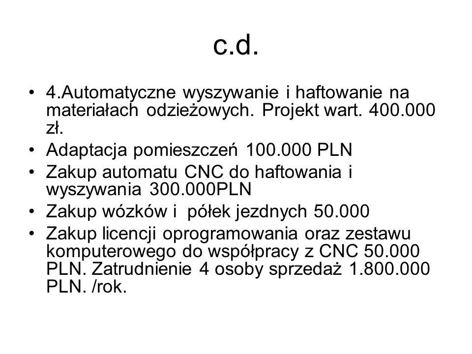 c.d. 4.Automatyczne wyszywanie i haftowanie na materiałach odzieżowych. Projekt wart. 400.000 zł. Adaptacja pomieszczeń 100.000 PLN Zakup automatu CNC