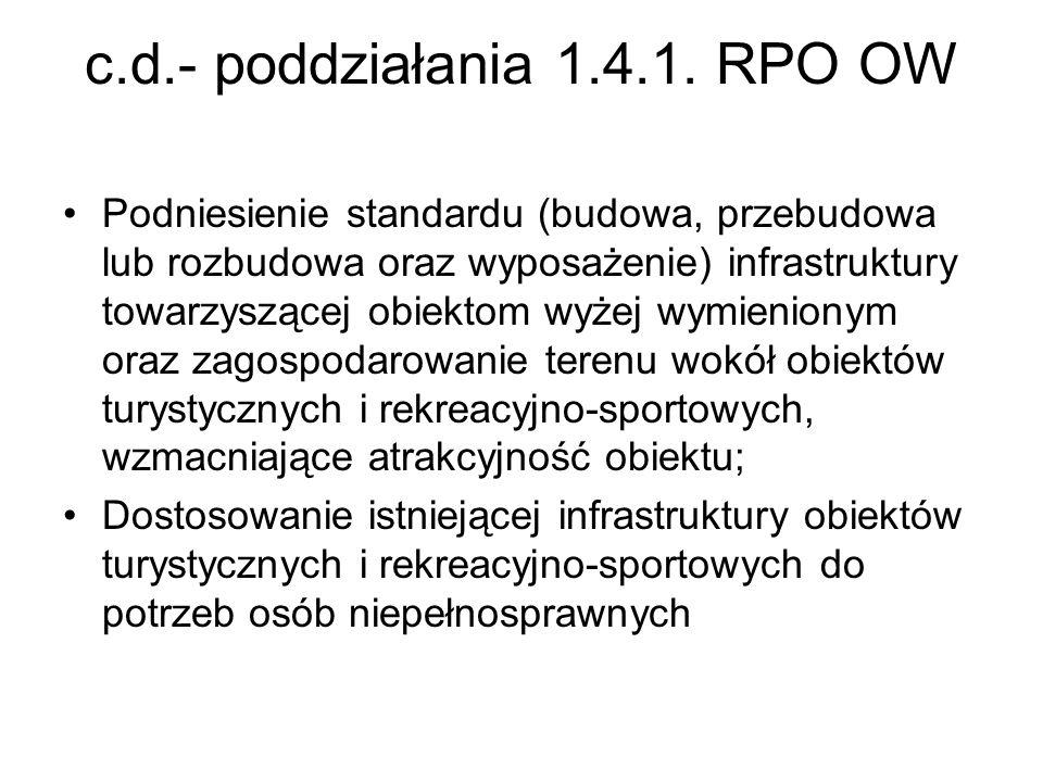 c.d.- poddziałania 1.4.1. RPO OW Podniesienie standardu (budowa, przebudowa lub rozbudowa oraz wyposażenie) infrastruktury towarzyszącej obiektom wyże
