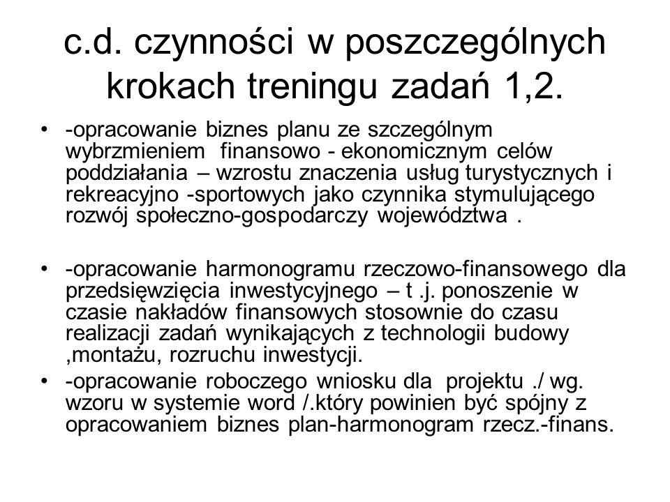 c.d. czynności w poszczególnych krokach treningu zadań 1,2. -opracowanie biznes planu ze szczególnym wybrzmieniem finansowo - ekonomicznym celów poddz