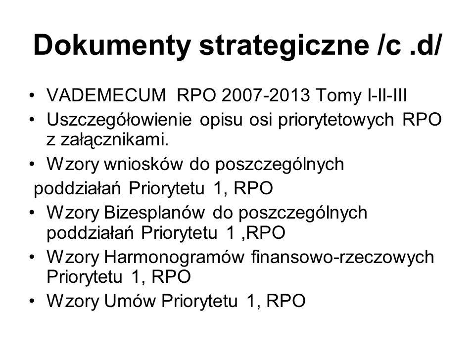 Dokumenty strategiczne /c.d/ VADEMECUM RPO 2007-2013 Tomy I-II-III Uszczegółowienie opisu osi priorytetowych RPO z załącznikami. Wzory wniosków do pos
