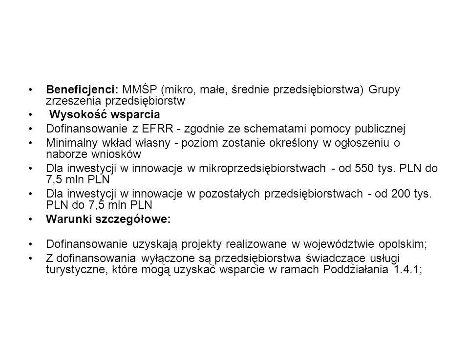Beneficjenci: MMŚP (mikro, małe, średnie przedsiębiorstwa) Grupy zrzeszenia przedsiębiorstw Wysokość wsparcia Dofinansowanie z EFRR - zgodnie ze schem