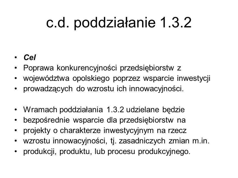 c.d. poddziałanie 1.3.2 Cel Poprawa konkurencyjności przedsiębiorstw z województwa opolskiego poprzez wsparcie inwestycji prowadzących do wzrostu ich
