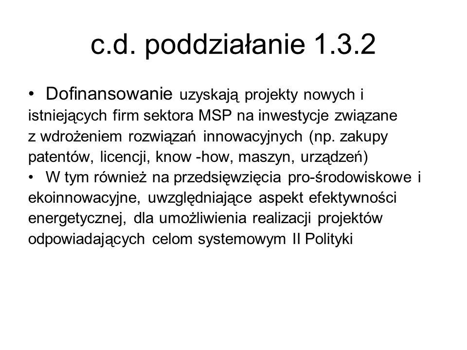 c.d. poddziałanie 1.3.2 Dofinansowanie uzyskają projekty nowych i istniejących firm sektora MSP na inwestycje związane z wdrożeniem rozwiązań innowacy
