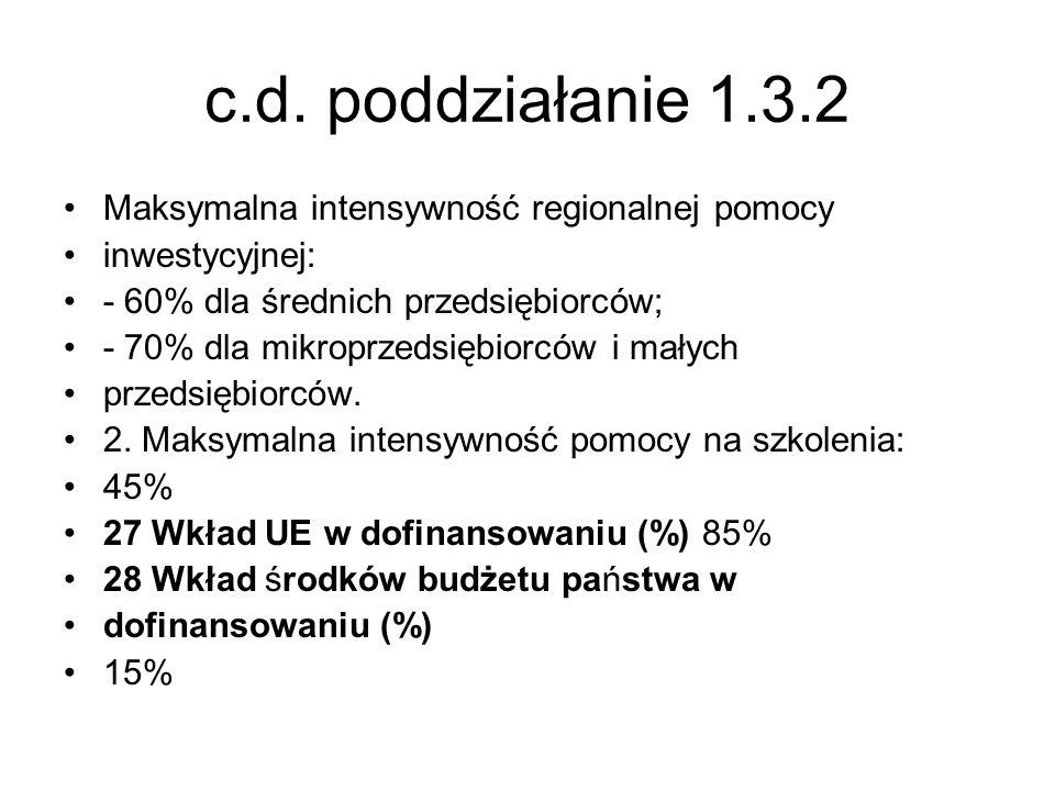 c.d. poddziałanie 1.3.2 Maksymalna intensywność regionalnej pomocy inwestycyjnej: - 60% dla średnich przedsiębiorców; - 70% dla mikroprzedsiębiorców i