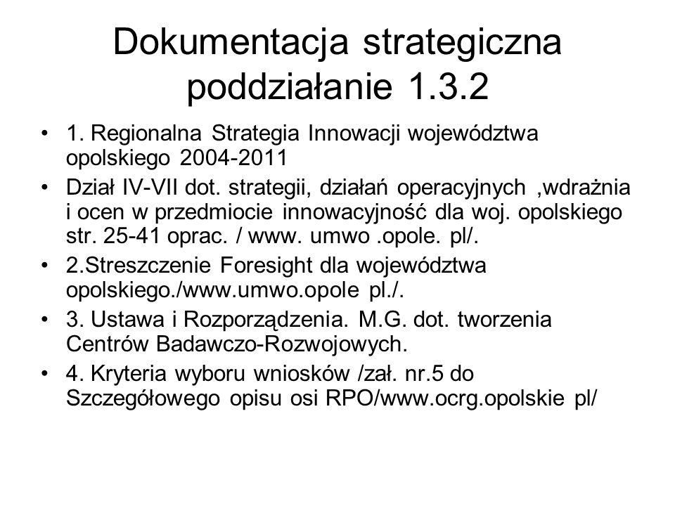 Dokumentacja strategiczna poddziałanie 1.3.2 1. Regionalna Strategia Innowacji województwa opolskiego 2004-2011 Dział IV-VII dot. strategii, działań o