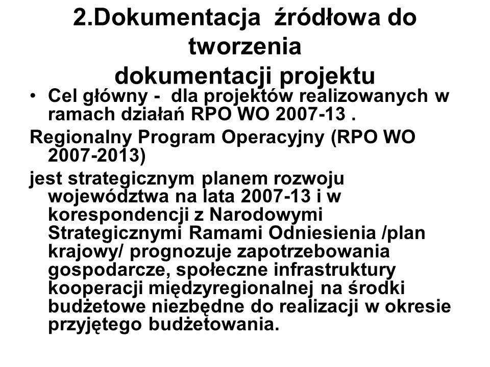 2.Dokumentacja źródłowa do tworzenia dokumentacji projektu Cel główny - dla projektów realizowanych w ramach działań RPO WO 2007-13. Regionalny Progra