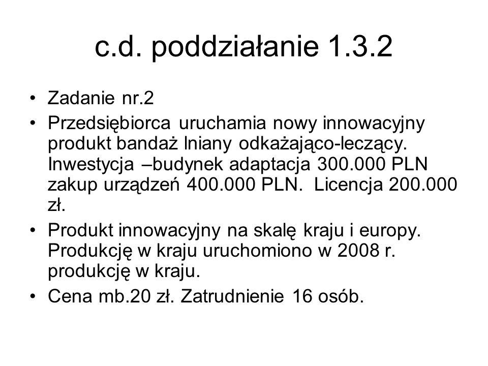 c.d. poddziałanie 1.3.2 Zadanie nr.2 Przedsiębiorca uruchamia nowy innowacyjny produkt bandaż lniany odkażająco-leczący. Inwestycja –budynek adaptacja