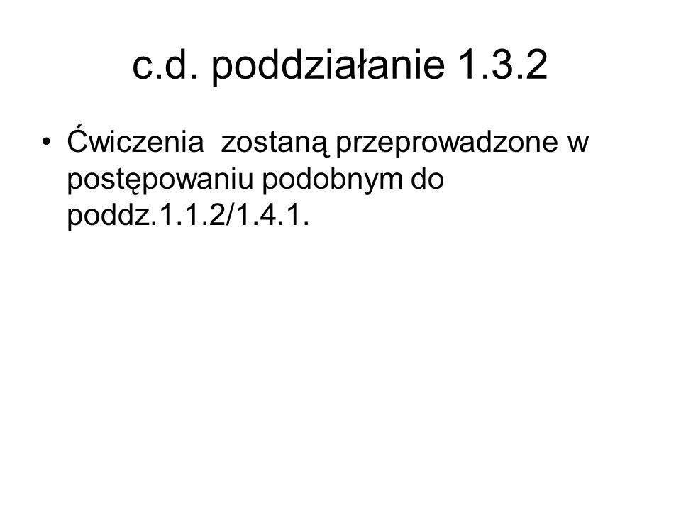 c.d. poddziałanie 1.3.2 Ćwiczenia zostaną przeprowadzone w postępowaniu podobnym do poddz.1.1.2/1.4.1.