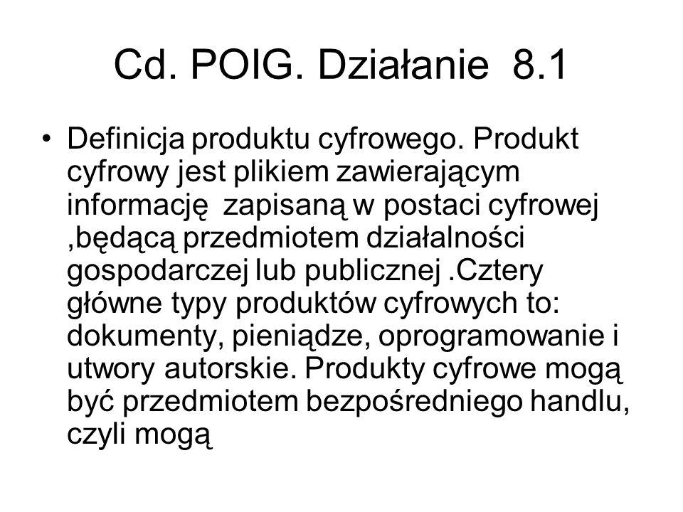 Cd. POIG. Działanie 8.1 Definicja produktu cyfrowego. Produkt cyfrowy jest plikiem zawierającym informację zapisaną w postaci cyfrowej,będącą przedmio