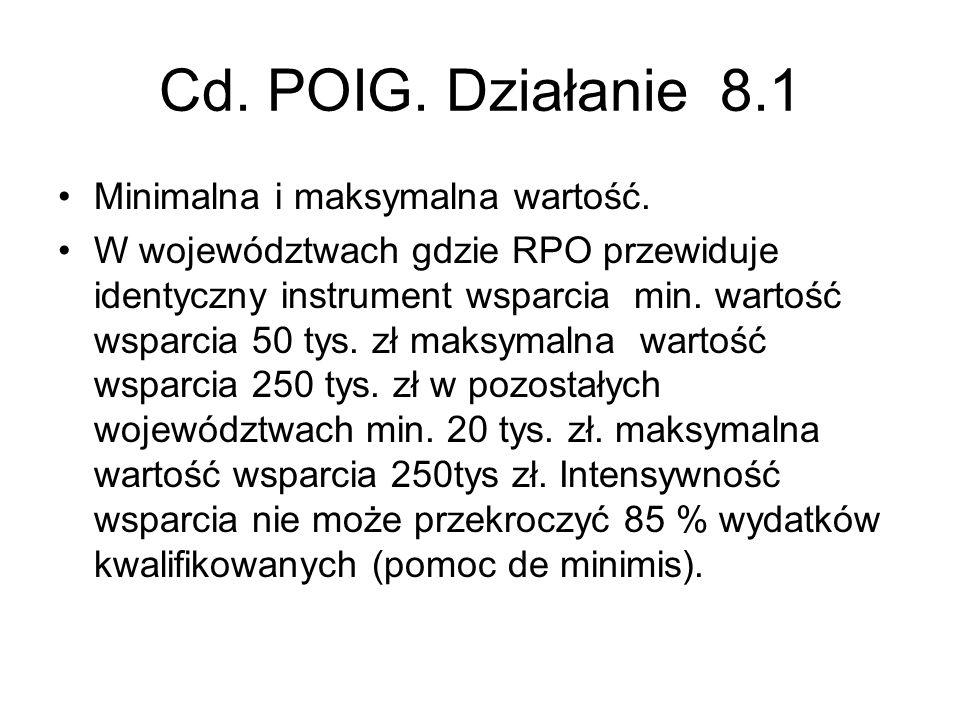Cd. POIG. Działanie 8.1 Minimalna i maksymalna wartość. W województwach gdzie RPO przewiduje identyczny instrument wsparcia min. wartość wsparcia 50 t