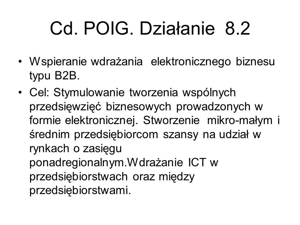 Cd. POIG. Działanie 8.2 Wspieranie wdrażania elektronicznego biznesu typu B2B. Cel: Stymulowanie tworzenia wspólnych przedsięwzięć biznesowych prowadz