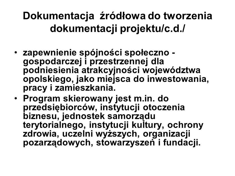 Dokumentacja źródłowa do tworzenia dokumentacji projektu/c.d./ zapewnienie spójności społeczno - gospodarczej i przestrzennej dla podniesienia atrakcy