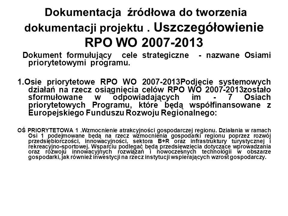 Dokumentacja źródłowa do tworzenia dokumentacji projektu. Uszczegółowienie RPO WO 2007-2013 Dokument formułujący cele strategiczne - nazwane Osiami pr