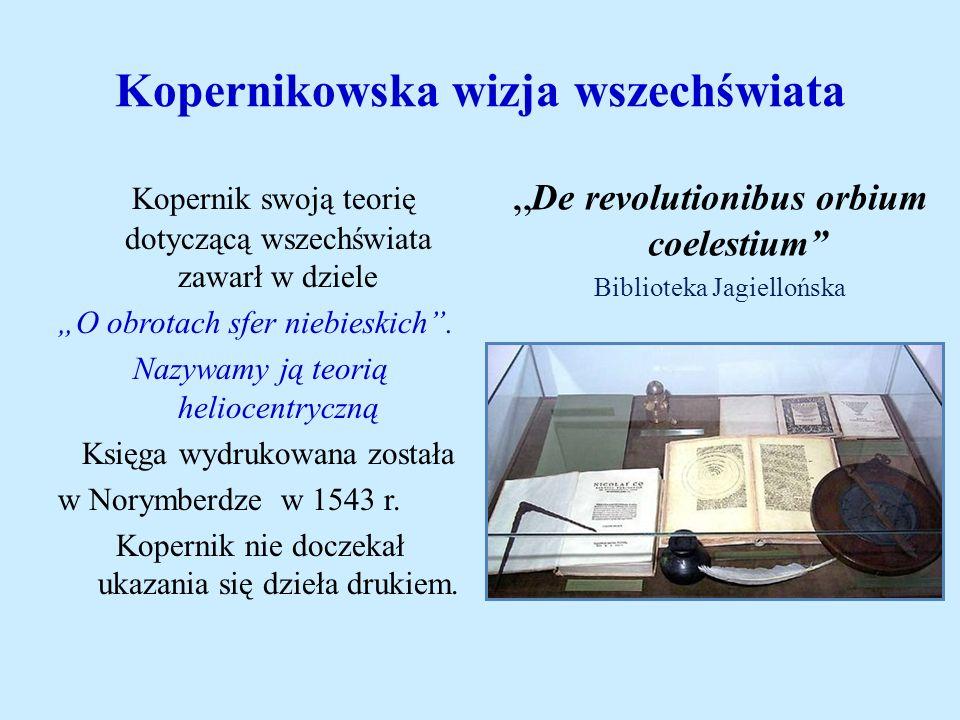 Kopernikowska wizja wszechświata Kopernik swoją teorię dotyczącą wszechświata zawarł w dziele O obrotach sfer niebieskich. Nazywamy ją teorią heliocen