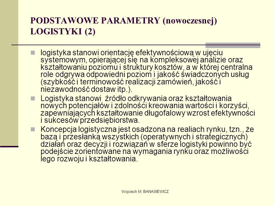 Wojciech M. BANASIEWICZ PODSTAWOWE PARAMETRY (nowoczesnej) LOGISTYKI (2) logistyka stanowi orientację efektywnościową w ujęciu systemowym, opierającej