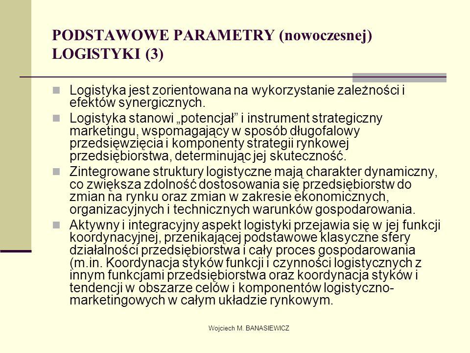 Wojciech M. BANASIEWICZ PODSTAWOWE PARAMETRY (nowoczesnej) LOGISTYKI (3) Logistyka jest zorientowana na wykorzystanie zależności i efektów synergiczny