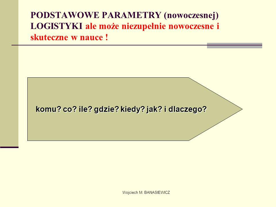 Wojciech M. BANASIEWICZ PODSTAWOWE PARAMETRY (nowoczesnej) LOGISTYKI ale może niezupełnie nowoczesne i skuteczne w nauce ! komu? co? ile? gdzie? kiedy