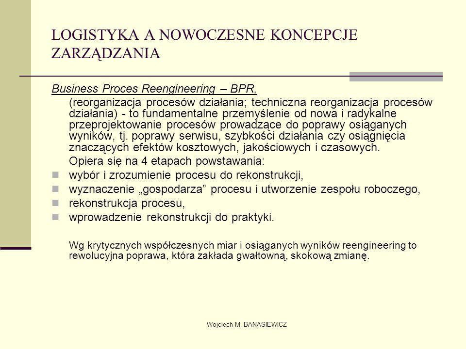 Wojciech M. BANASIEWICZ LOGISTYKA A NOWOCZESNE KONCEPCJE ZARZĄDZANIA Business Proces Reengineering – BPR, (reorganizacja procesów działania; techniczn