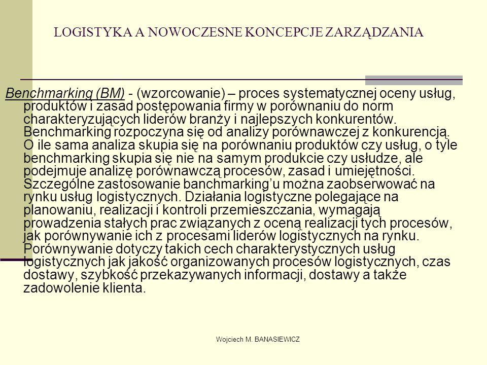 Wojciech M. BANASIEWICZ LOGISTYKA A NOWOCZESNE KONCEPCJE ZARZĄDZANIA Benchmarking (BM) - (wzorcowanie) – proces systematycznej oceny usług, produktów