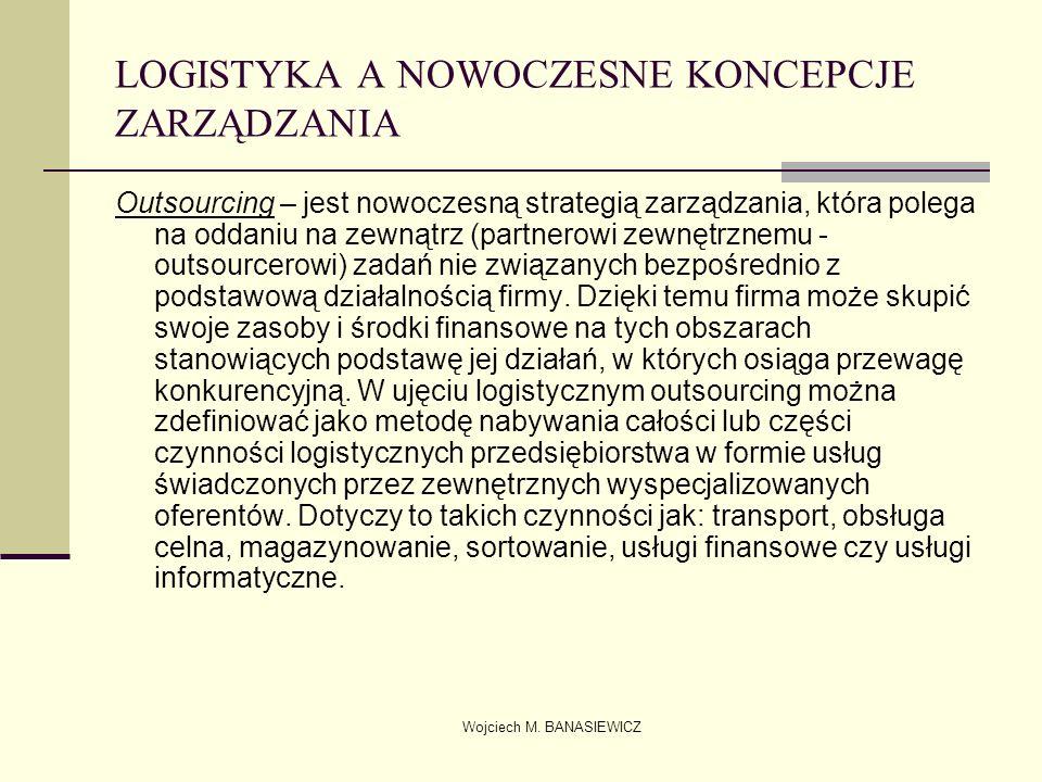 Wojciech M. BANASIEWICZ LOGISTYKA A NOWOCZESNE KONCEPCJE ZARZĄDZANIA Outsourcing – jest nowoczesną strategią zarządzania, która polega na oddaniu na z