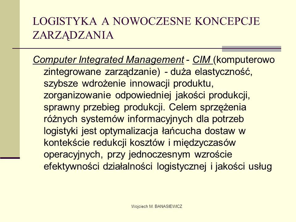 Wojciech M. BANASIEWICZ LOGISTYKA A NOWOCZESNE KONCEPCJE ZARZĄDZANIA Computer Integrated Management - CIM (komputerowo zintegrowane zarządzanie) - duż
