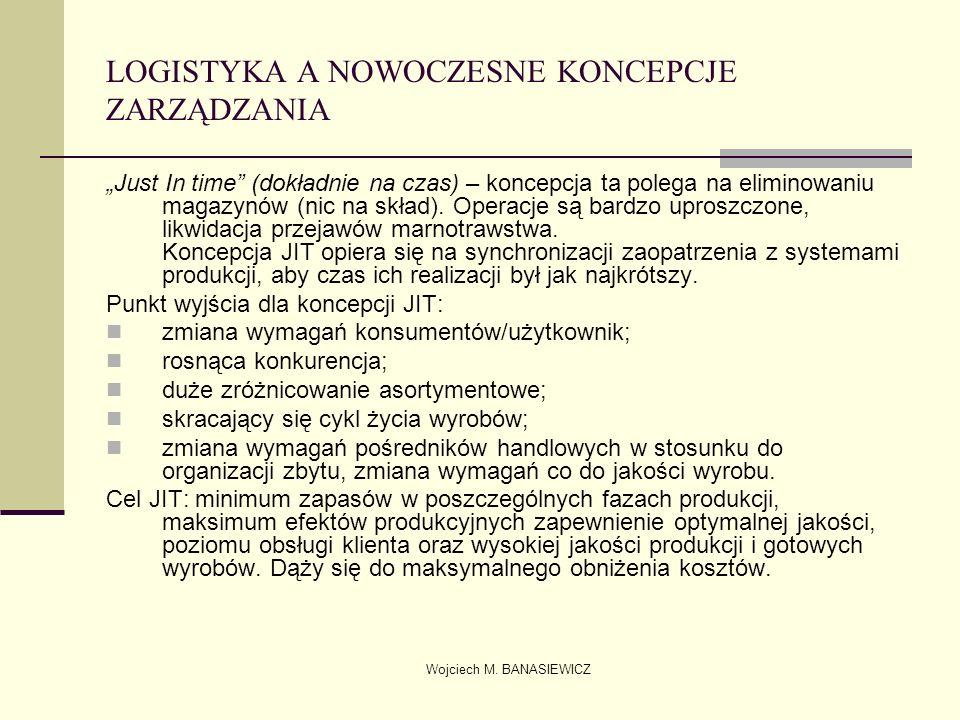 Wojciech M. BANASIEWICZ LOGISTYKA A NOWOCZESNE KONCEPCJE ZARZĄDZANIA Just In time (dokładnie na czas) – koncepcja ta polega na eliminowaniu magazynów