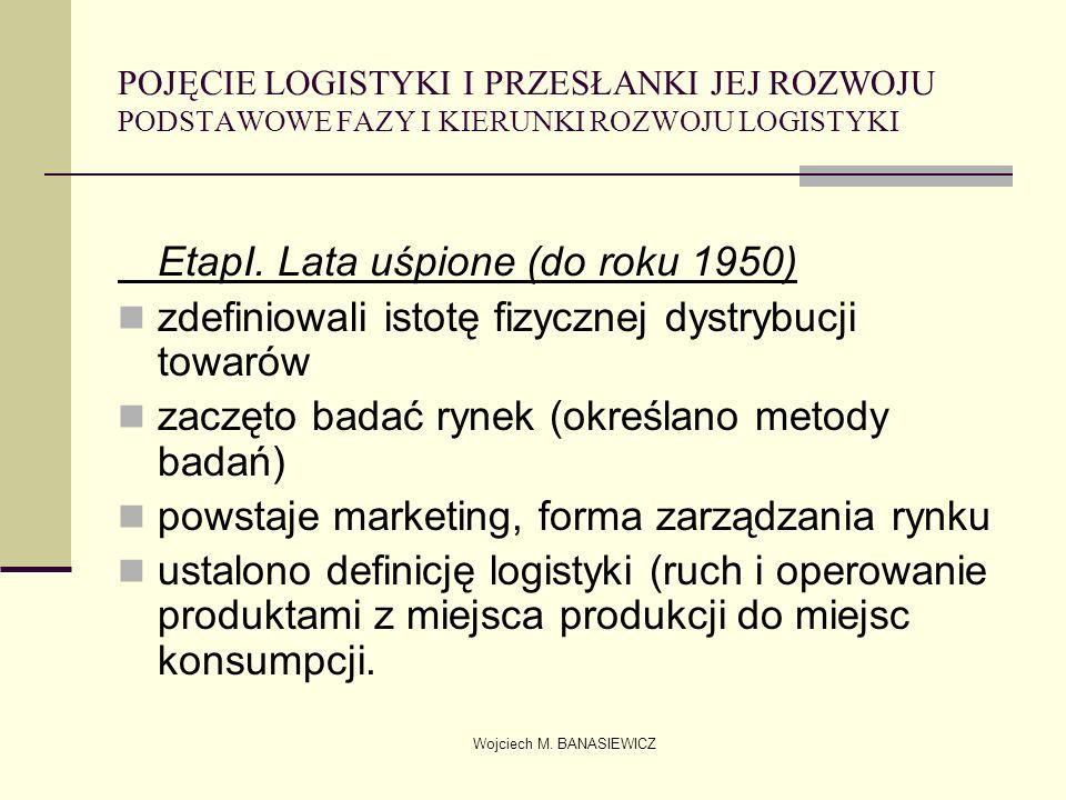 Wojciech M. BANASIEWICZ POJĘCIE LOGISTYKI I PRZESŁANKI JEJ ROZWOJU PODSTAWOWE FAZY I KIERUNKI ROZWOJU LOGISTYKI EtapI. Lata uśpione (do roku 1950) zde