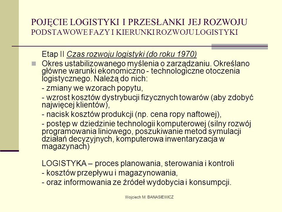 Wojciech M. BANASIEWICZ POJĘCIE LOGISTYKI I PRZESŁANKI JEJ ROZWOJU PODSTAWOWE FAZY I KIERUNKI ROZWOJU LOGISTYKI Etap II Czas rozwoju logistyki (do rok