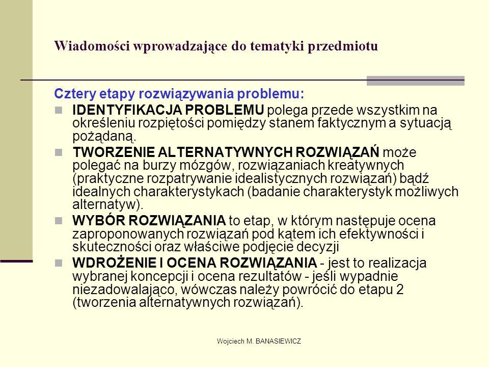 Wojciech M. BANASIEWICZ Wiadomości wprowadzające do tematyki przedmiotu Cztery etapy rozwiązywania problemu: IDENTYFIKACJA PROBLEMU polega przede wszy