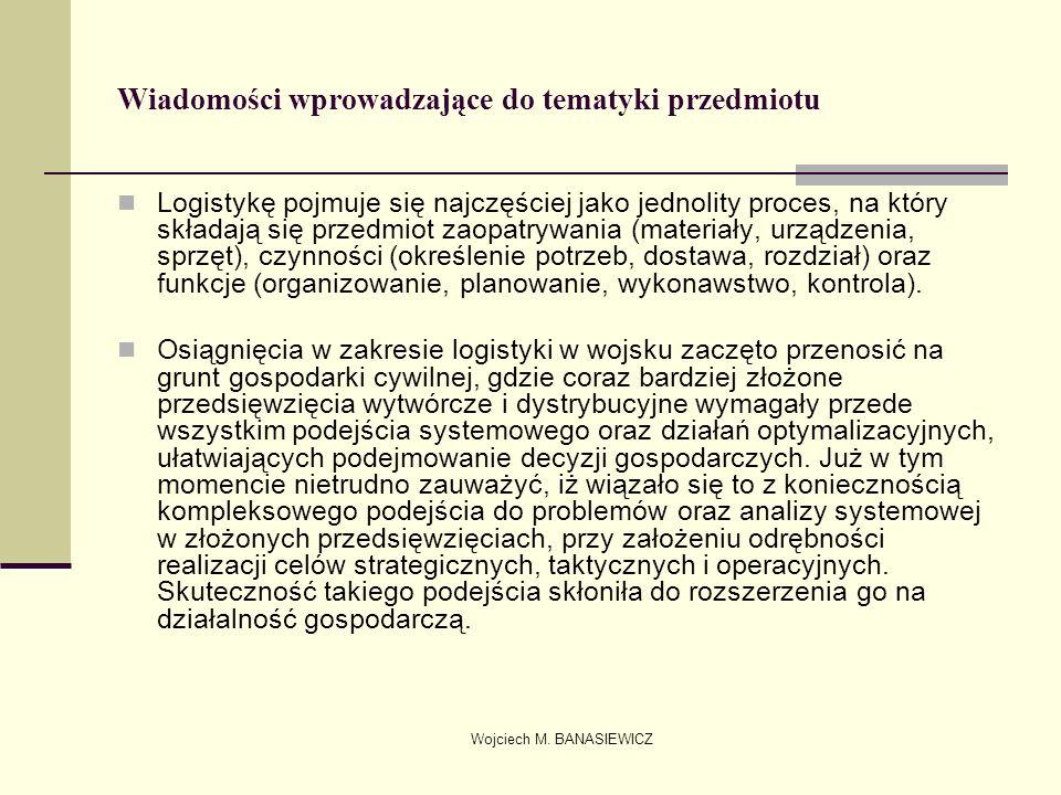 Wojciech M. BANASIEWICZ Wiadomości wprowadzające do tematyki przedmiotu Logistykę pojmuje się najczęściej jako jednolity proces, na który składają się