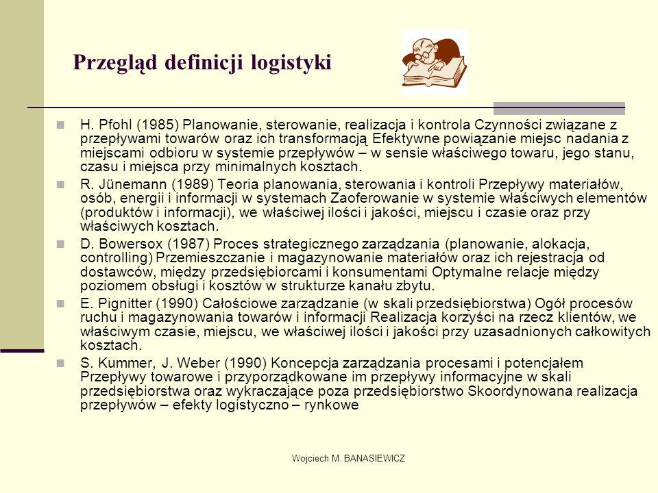 Wojciech M. BANASIEWICZ Przegląd definicji logistyki H. Pfohl (1985) Planowanie, sterowanie, realizacja i kontrola Czynności związane z przepływami to