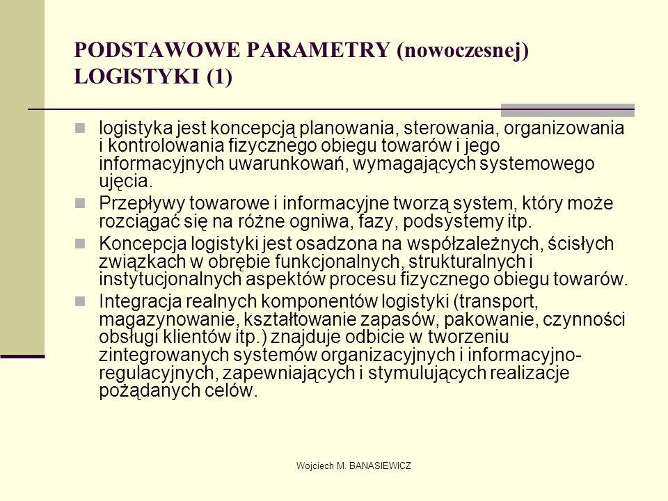 Wojciech M. BANASIEWICZ PODSTAWOWE PARAMETRY (nowoczesnej) LOGISTYKI (1) logistyka jest koncepcją planowania, sterowania, organizowania i kontrolowani