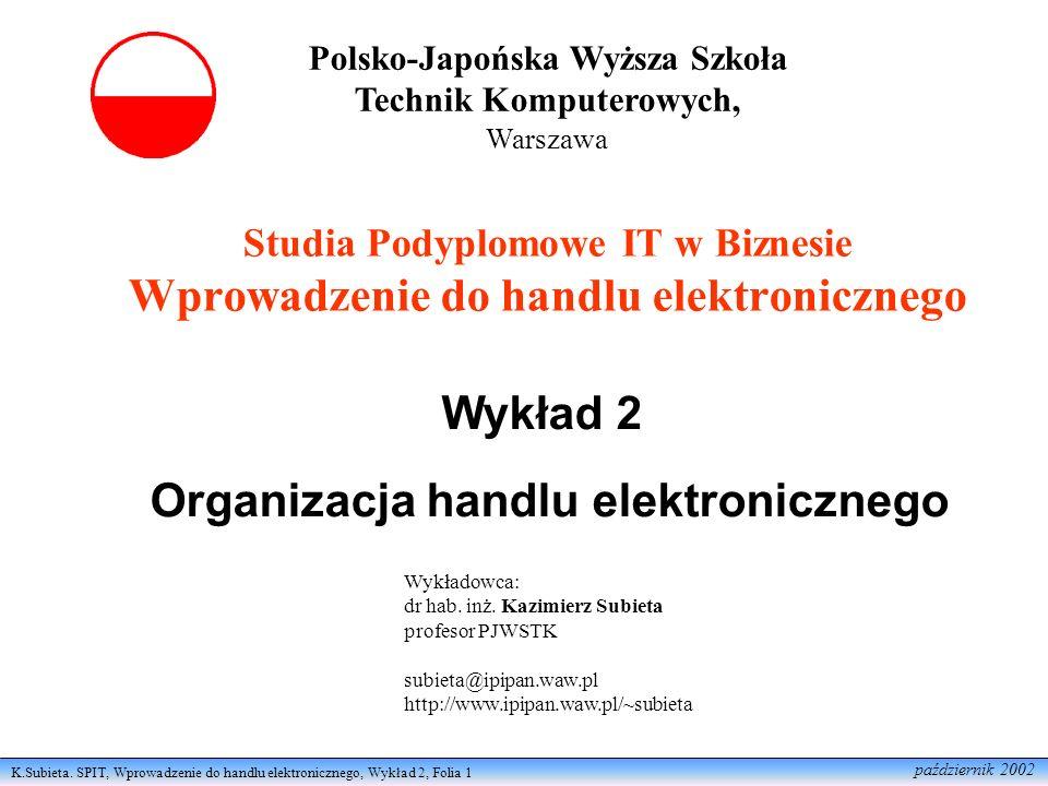 K.Subieta. SPIT, Wprowadzenie do handlu elektronicznego, Wykład 2, Folia 1 październik 2002 Studia Podyplomowe IT w Biznesie Wprowadzenie do handlu el