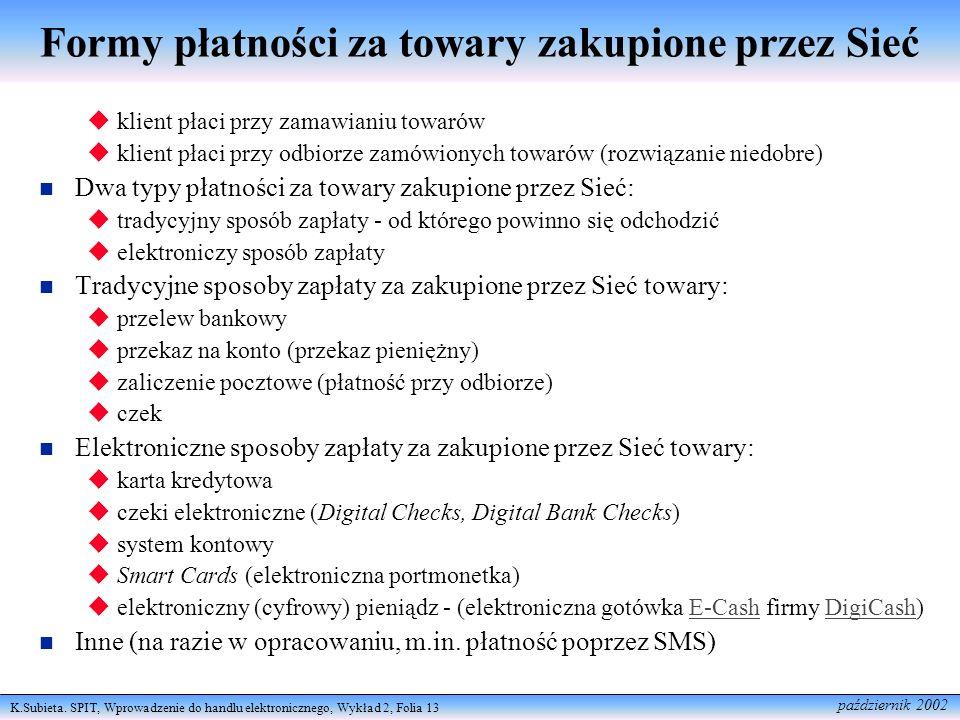 K.Subieta. SPIT, Wprowadzenie do handlu elektronicznego, Wykład 2, Folia 13 październik 2002 Formy płatności za towary zakupione przez Sieć klient pła