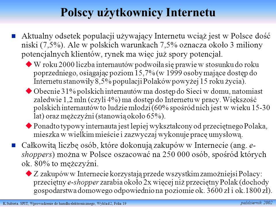 K.Subieta. SPIT, Wprowadzenie do handlu elektronicznego, Wykład 2, Folia 19 październik 2002 Polscy użytkownicy Internetu Aktualny odsetek populacji u