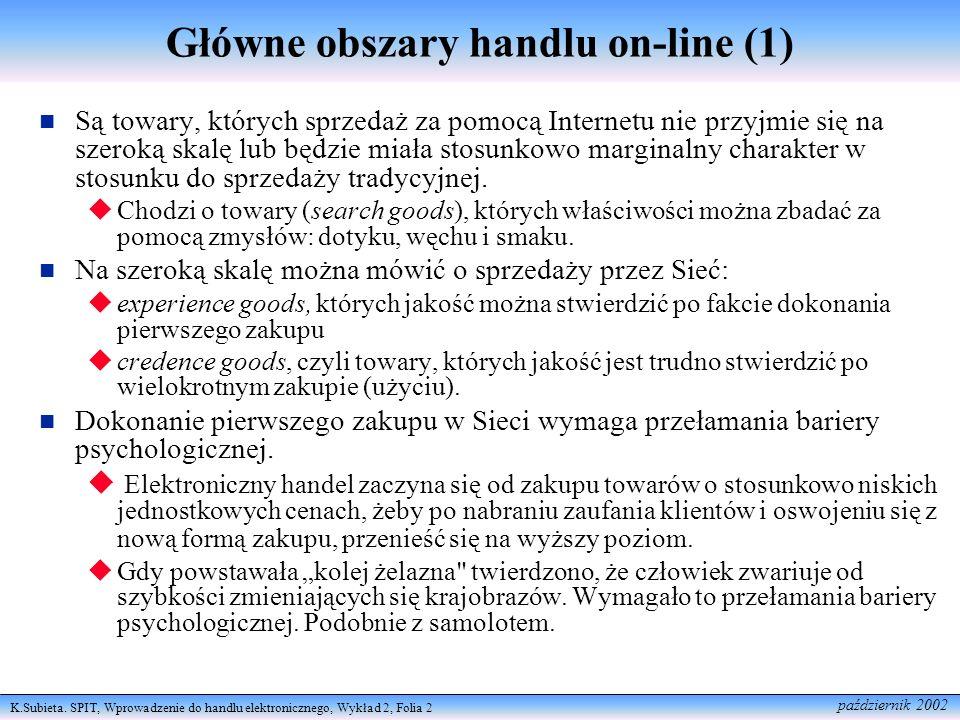 K.Subieta. SPIT, Wprowadzenie do handlu elektronicznego, Wykład 2, Folia 2 październik 2002 Główne obszary handlu on-line (1) Są towary, których sprze