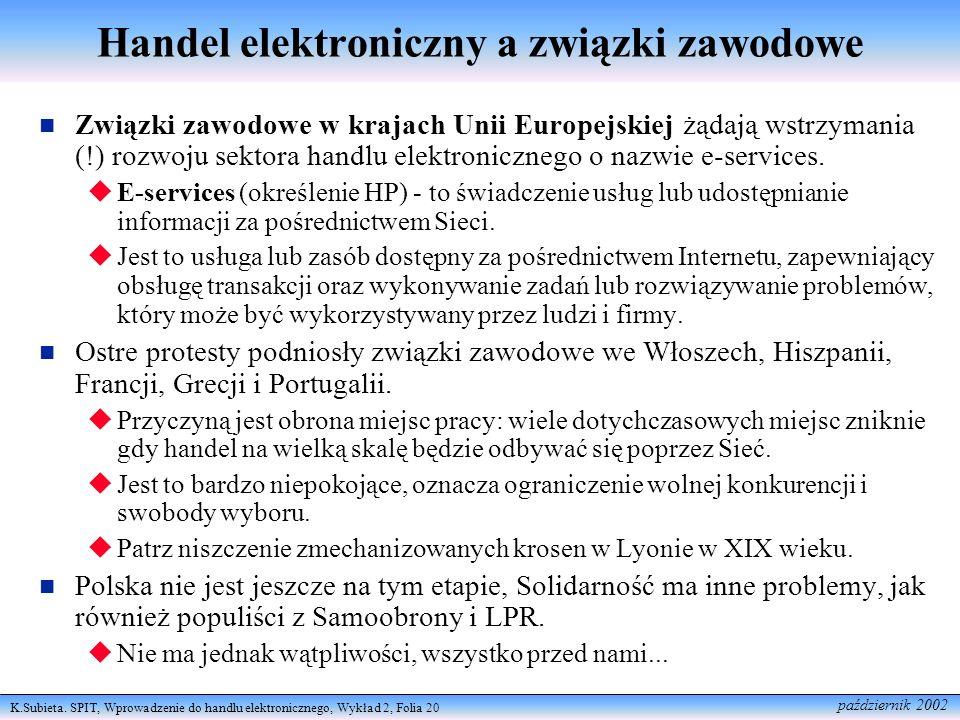 K.Subieta. SPIT, Wprowadzenie do handlu elektronicznego, Wykład 2, Folia 20 październik 2002 Handel elektroniczny a związki zawodowe Związki zawodowe
