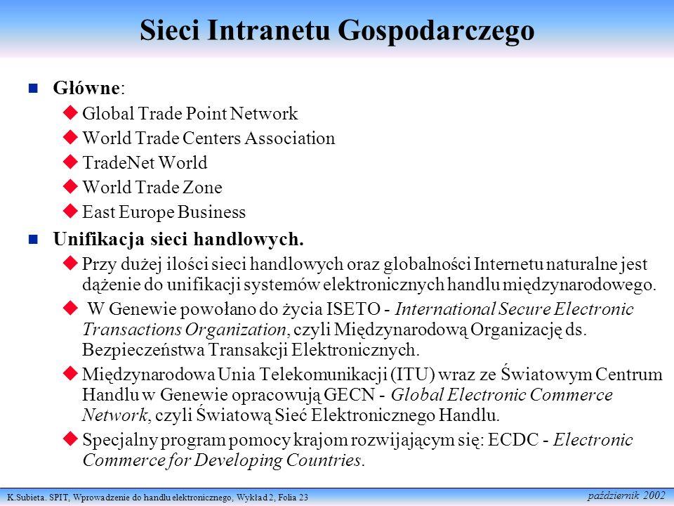 K.Subieta. SPIT, Wprowadzenie do handlu elektronicznego, Wykład 2, Folia 23 październik 2002 Sieci Intranetu Gospodarczego Główne: Global Trade Point