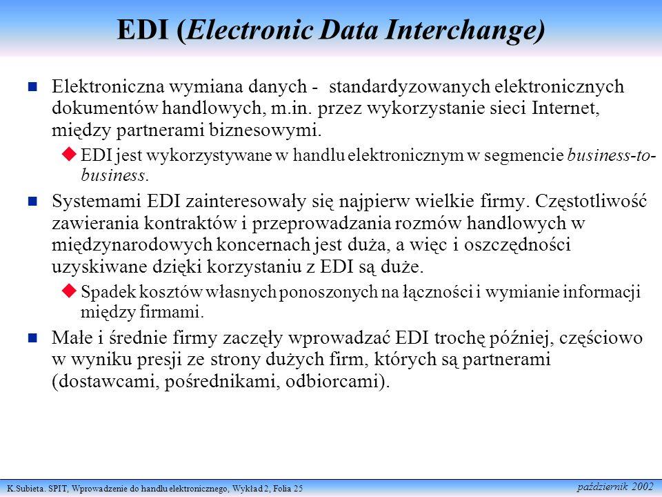 K.Subieta. SPIT, Wprowadzenie do handlu elektronicznego, Wykład 2, Folia 25 październik 2002 EDI (Electronic Data Interchange) Elektroniczna wymiana d