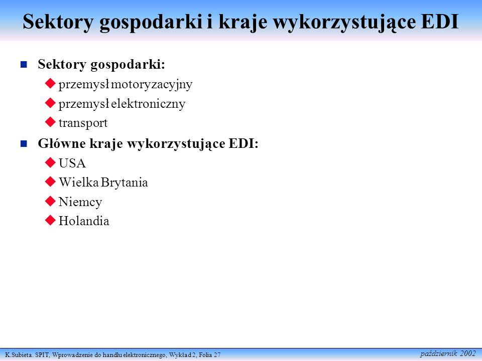 K.Subieta. SPIT, Wprowadzenie do handlu elektronicznego, Wykład 2, Folia 27 październik 2002 Sektory gospodarki i kraje wykorzystujące EDI Sektory gos