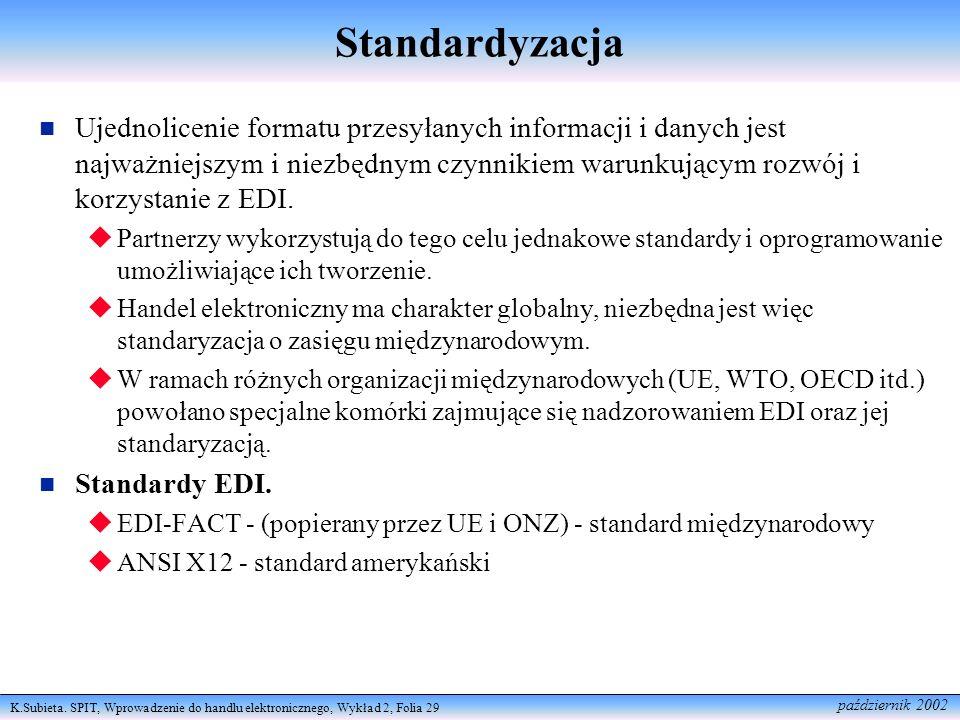 K.Subieta. SPIT, Wprowadzenie do handlu elektronicznego, Wykład 2, Folia 29 październik 2002 Standardyzacja Ujednolicenie formatu przesyłanych informa