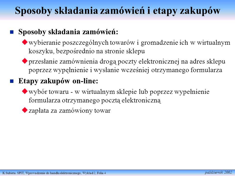 K.Subieta. SPIT, Wprowadzenie do handlu elektronicznego, Wykład 2, Folia 4 październik 2002 Sposoby składania zamówień i etapy zakupów Sposoby składan