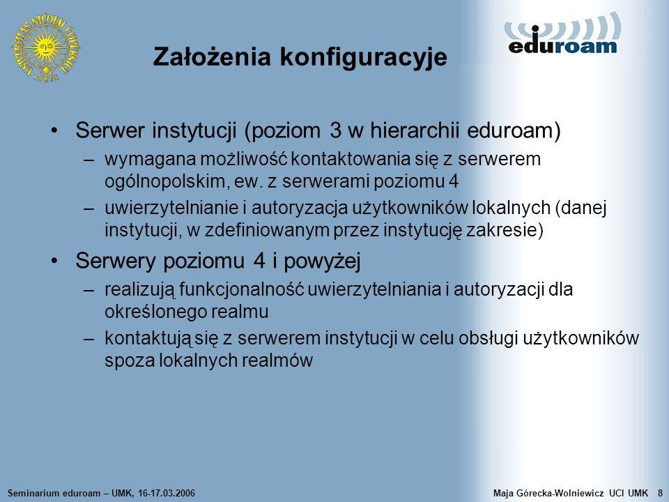 Seminarium eduroam – UMK, 16-17.03.2006Maja Górecka-Wolniewicz UCI UMK8 Założenia konfiguracyje Serwer instytucji (poziom 3 w hierarchii eduroam) –wym