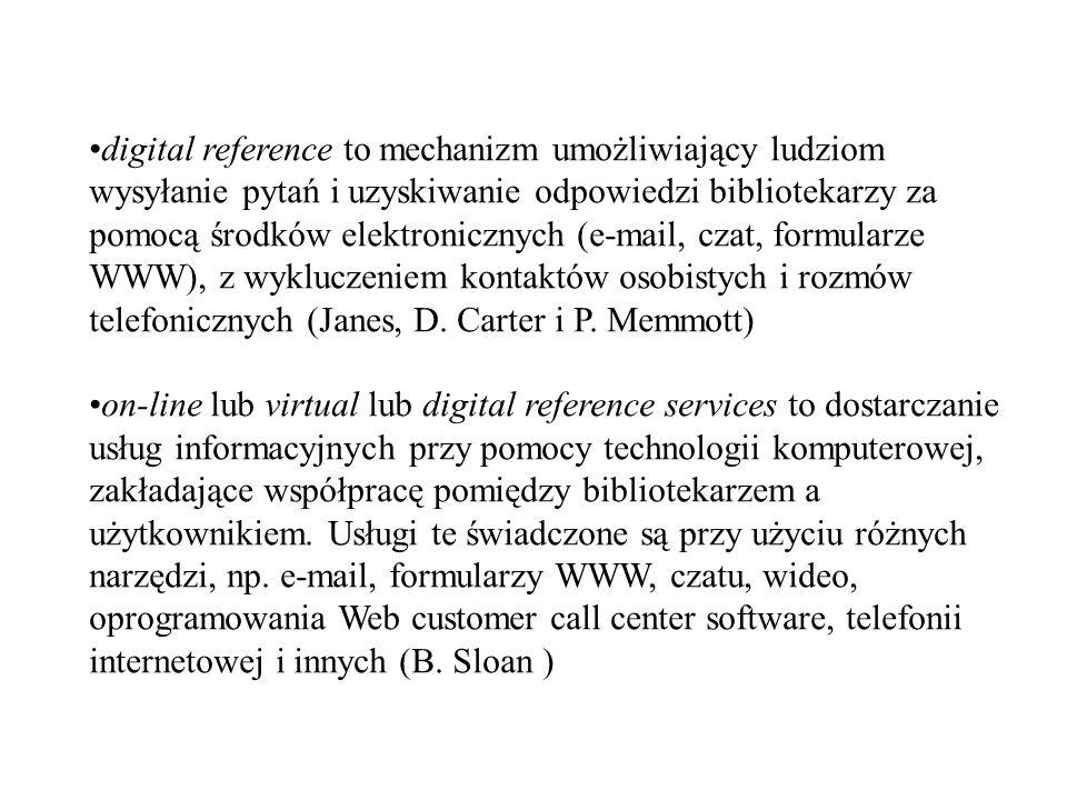digital reference to mechanizm umożliwiający ludziom wysyłanie pytań i uzyskiwanie odpowiedzi bibliotekarzy za pomocą środków elektronicznych (e-mail,