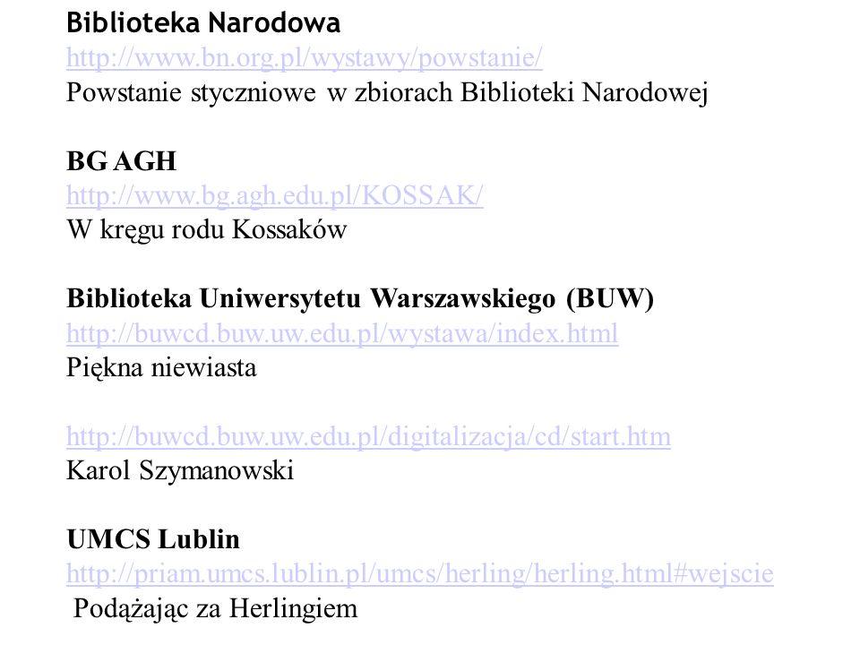 Biblioteka Narodowa http://www.bn.org.pl/wystawy/powstanie/ Powstanie styczniowe w zbiorach Biblioteki Narodowej BG AGH http://www.bg.agh.edu.pl/KOSSA