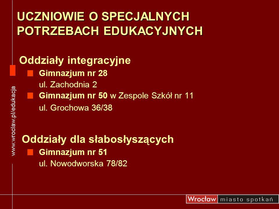 Gimnazjum nr 28 ul. Zachodnia 2 Gimnazjum nr 50 w Zespole Szkół nr 11 ul. Grochowa 36/38 Oddziały integracyjne www.wroclaw.pl/edukacja Oddziały dla sł