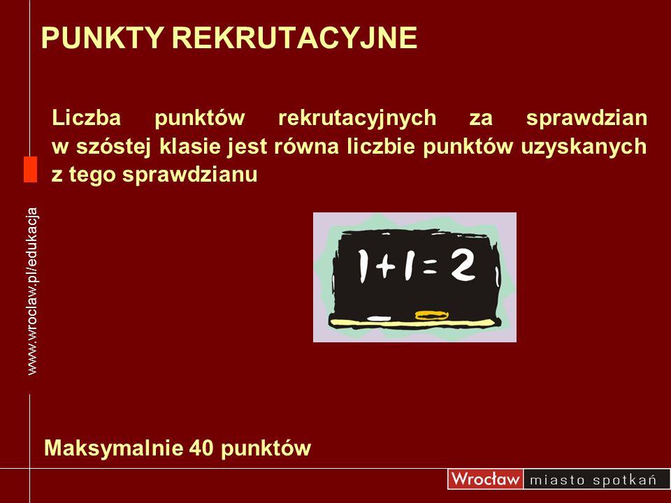 Liczba punktów rekrutacyjnych za sprawdzian w szóstej klasie jest równa liczbie punktów uzyskanych z tego sprawdzianu www.wroclaw.pl/edukacja PUNKTY R